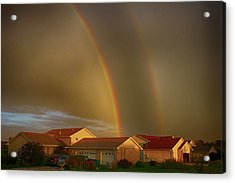 Two Rainbows Plus Two Pots Of Gold Acrylic Print