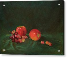 Two Red Apples And Grapes Acrylic Print