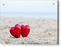 Two Red Hearts On The Beach Symbolizing Love Acrylic Print by Michal Bednarek