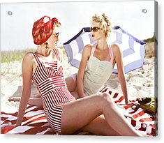 Two Retro Young Women On Beach Acrylic Print by Johner Images