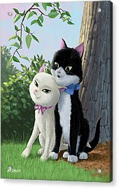 Two Romantic Cats In Love Acrylic Print by Martin Davey