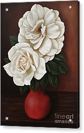 Acrylic Print featuring the painting Two Roses by Paula L