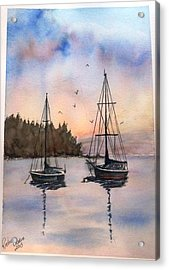 Acrylic Print featuring the painting Two Sail Boats At Anchor Sold by Richard Benson
