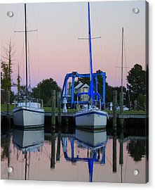 Two Sailboats At Dock Acrylic Print by Carolyn Ricks