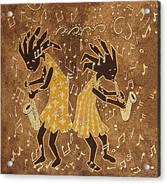 Two Sax Players Acrylic Print by Katherine Young-Beck