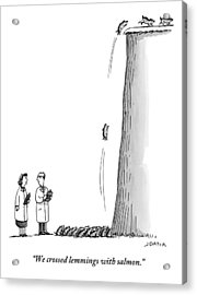 Two Scientists Stand At The Bottom Of A Cliff Acrylic Print by Joe Dator