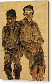 Two Seated Boys Acrylic Print by Egon Schiele