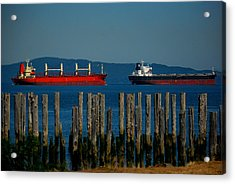 Two Ships Passing In The Acrylic Print by Mamie Gunning