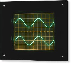 Two Sine Waves On Oscilloscope Screen Acrylic Print by Dorling Kindersley/uig