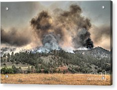 Acrylic Print featuring the photograph Two Smoke Columns White Draw Fire by Bill Gabbert