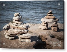 Two Stacked Stone Cairns Acrylic Print