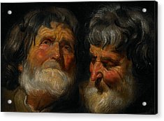 Two Studies Of The Head Of An Old Man Acrylic Print by Jacob Jordaens