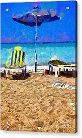 Two Sun-chairs And Umbrella Painting Acrylic Print by Magomed Magomedagaev