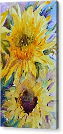 Two Sunflowers Acrylic Print by Beverley Harper Tinsley