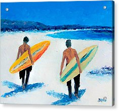 Two Surfers At Byron Bay Acrylic Print
