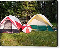 Acrylic Print featuring the photograph Two Tents And Umbrella by Marek Poplawski