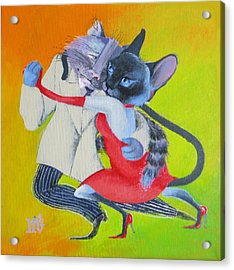 Acrylic Print featuring the painting Two To Cats' Tango by Marina Gnetetsky