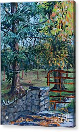 Two Trees And A Gate Acrylic Print by Janet Felts