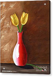 Acrylic Print featuring the painting Two Tulips And A Pink Rose by Laura Forde