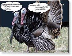 Two Turkeys Talking Acrylic Print by Gary Brandes