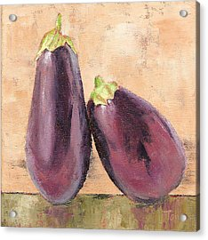 Acrylic Print featuring the painting Two Tuscan Eggplants by Pam Talley