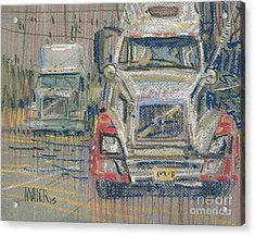 Acrylic Print featuring the painting Two Volvos by Donald Maier