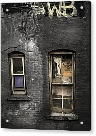 Two Windows Old And New - Old Building In New York Chinatown Acrylic Print by Gary Heller