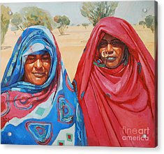 Two Women 2 Acrylic Print by Mohamed Fadul
