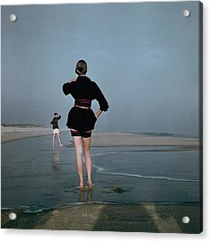 Two Women At A Beach Acrylic Print by Serge Balkin