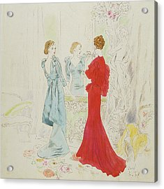 Two Women Getting Ready In Schiaparelli And Worth Acrylic Print by Cecil Beaton
