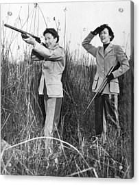 Two Women Hunting Acrylic Print by Underwood Archives