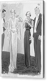 Two Women In Evening Gowns With Older Men Acrylic Print