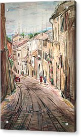 Two Women On The Street Acrylic Print by Becky Kim