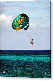 Two Women Parasailing In The Bahamas Acrylic Print by Susan Savad
