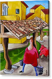 Two Women Under Tile Roof Acrylic Print by William Cain