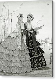 Two Women Wearing Large Dresses With Hoop Skirts Acrylic Print by Claire Avery