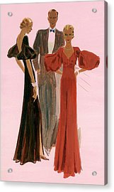 Two Women Wearing Mainbocher Evening Gowns Acrylic Print