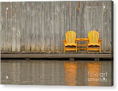 Two Wooden Chairs On An Old Dock Acrylic Print