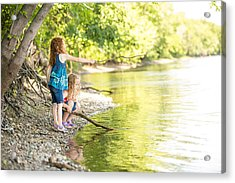 Two Young Girls Playing On Bank Of Mississippi River Acrylic Print by Emholk