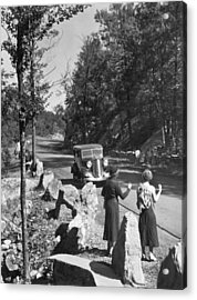 Two Young Women Hitchhiking Acrylic Print by Underwood Archives