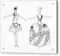 Two Young Women Wearing Costumes Worn By Marie Acrylic Print