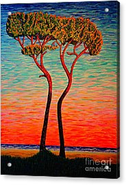 Acrylic Print featuring the painting Two.sunrise. by Viktor Lazarev