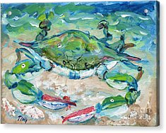 Acrylic Print featuring the painting Tybee Blue Crab Mini Series by Doris Blessington