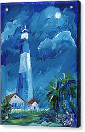 Acrylic Print featuring the painting Tybee Lighthouse Night Mini by Doris Blessington