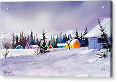 Acrylic Print featuring the painting Tyonek Village Impression by Teresa Ascone