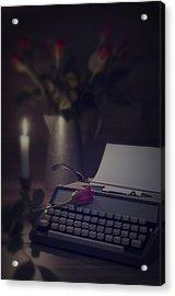 Typewriter By Candlelight Acrylic Print by Amanda Elwell
