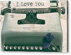 Typewriter Love Acrylic Print by Georgia Fowler
