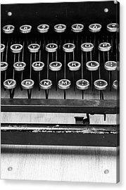 Typewriter Triptych Part 2 Acrylic Print by Edward Fielding