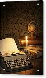 Typewriter With Globe Acrylic Print by Amanda Elwell