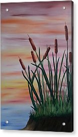 Typha Acrylic Print by Valorie Cross